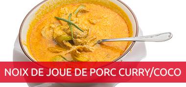 Noix de joue de porc au curry / coco